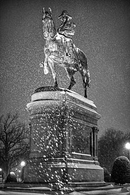 Photograph - George Washington Statue Boston Public Garden Boston Ma Black And White by Toby McGuire