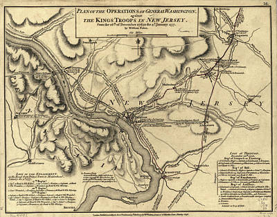 Politicians Drawings - George Washington Trenton NJ Battlefield Map 1777 by CartographyAssociates
