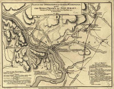 Politicians Drawings - George Washington Trenton NJ Battlefield Map 1777 by CartographyAssociates