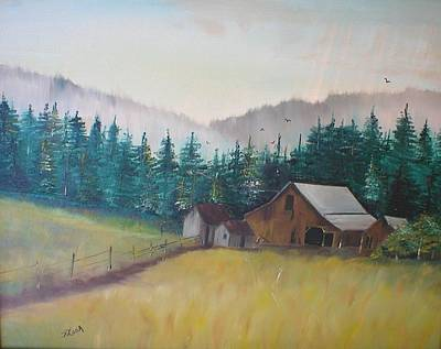 Old Barn Drawing - Georges Barn by Terry Lash