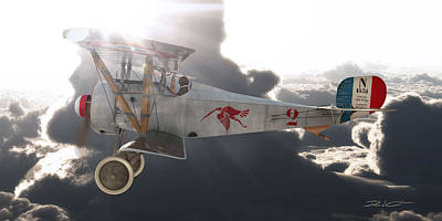 Digital Art - Georges Guynemer Nieuport 17 by David Collins