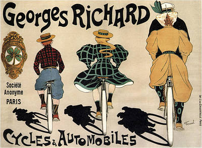Georges Richard Cycles And Automobiles  C. 1905 Art Print by Daniel Hagerman