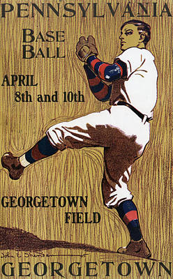 Baseball Glove Drawing - Georgetown Baseball Game Poster by American School
