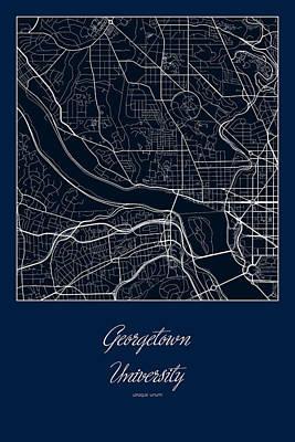 Georgetown Digital Art - Georgetown Street Map - Georgetown University In Washington Dc M by Jurq Studio