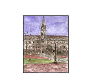Georgetown University Healy View Art Print by Angela Puglisi