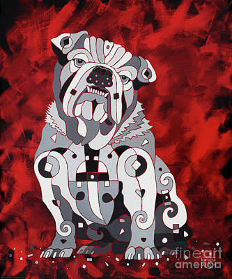 English Bull Dog Painting - Georgia Bull Dog by Barbara Rush