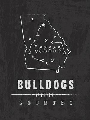 Bulldog Art Digital Art - Georgia Bulldogs / Ncaa College Football Art / Athens by Damon Gray