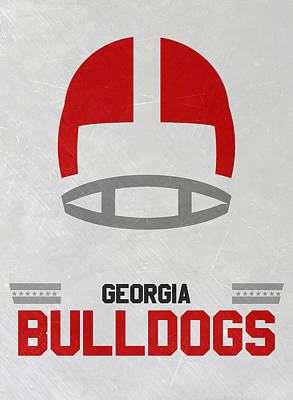 Ncaa Mixed Media - Georgia Bulldogs Vintage Football Art by Joe Hamilton