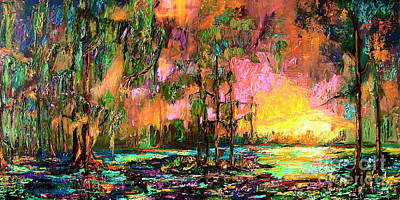 Georgia Landscape Okefenokee Sunset  Art Print by Ginette Callaway