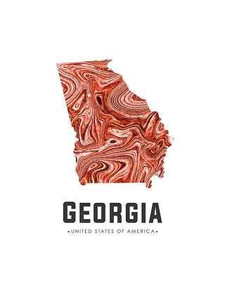 Georgia Map Art Abstract In Brown Art Print