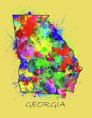Splatter Digital Art - Georgia Map Color Splatter 2 by Bekim Art