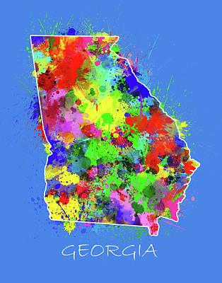 Watercolor Map Digital Art - Georgia Map Color Splatter 3 by Bekim Art