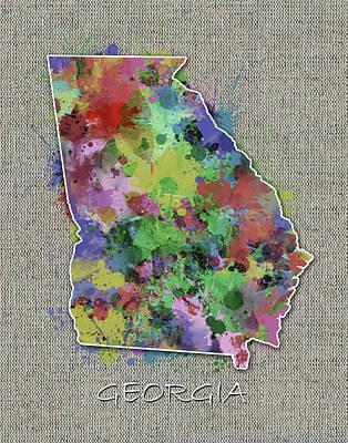Watercolor Map Digital Art - Georgia Map Color Splatter 4 by Bekim Art