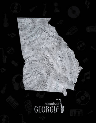 Jazz Royalty Free Images - Georgia Map Music Notes 2 Royalty-Free Image by Bekim M