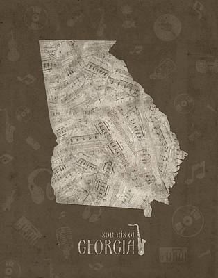 Jazz Royalty Free Images - Georgia Map Music Notes 3 Royalty-Free Image by Bekim M