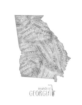 Music Royalty-Free and Rights-Managed Images - Georgia Map Music Notes  by Bekim Art