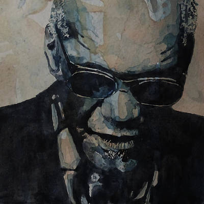 Jazz Legends Wall Art - Painting - Georgia On My Mind - Ray Charles  by Paul Lovering