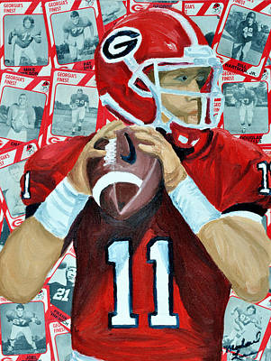Recently Sold - Sports Paintings - Georgia Quarterback by Michael Lee