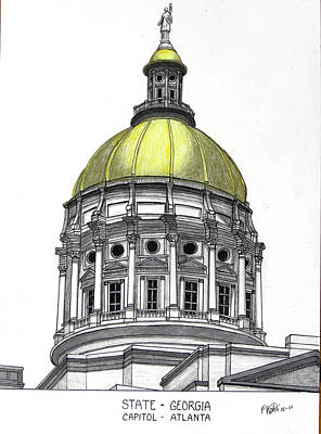 Drawing - Georgia State Capitol by Frederic Kohli