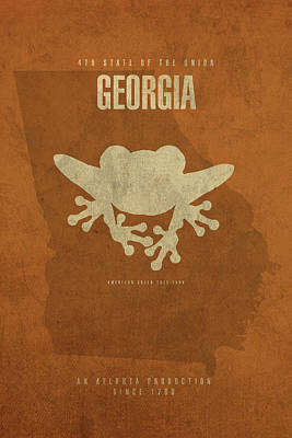 Frogs Mixed Media - Georgia State Facts Minimalist Movie Poster Art by Design Turnpike