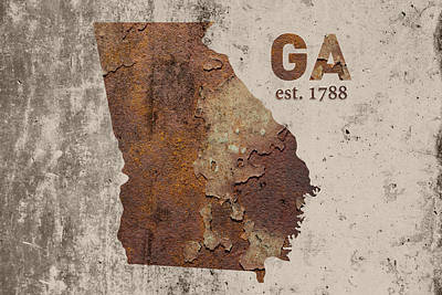 Georgia State Map Industrial Rusted Metal On Cement Wall With Founding Date Series 009 Art Print by Design Turnpike