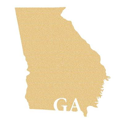 Constitution Mixed Media - Georgia State Map With Text Of Constitution by Design Turnpike