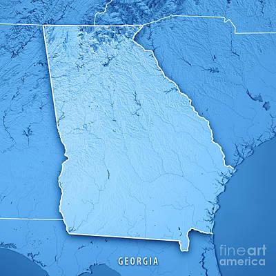 Georgia State Usa 3d Render Topographic Map Blue Border Art Print