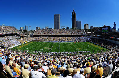 Georgia Tech Bobby Dodd Stadium And Atlanta Skyline  Art Print