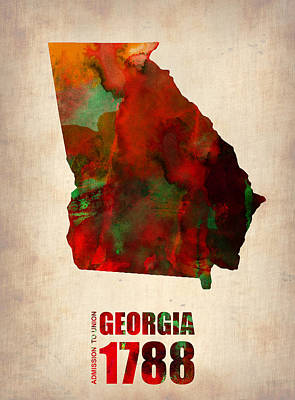 Modern Poster Digital Art - Georgia Watercolor Map by Naxart Studio