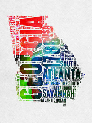 Georgia Digital Art - Georgia Watercolor Word Cloud Map  by Naxart Studio