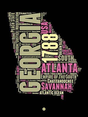 Georgia Digital Art - Georgia Word Cloud Map 1 by Naxart Studio