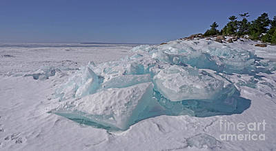 Photograph - Georgian Bay Blue Ice Shore by Charline Xia