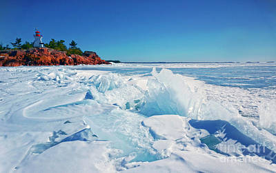 Photograph - Georgian Bay Frozen With Lighthouse by Charline Xia