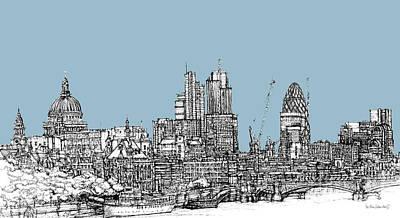 London Skyline Mixed Media - Georgian Blue Skies Over London City Skyline by Adendorff Design