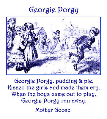 Painting - Georgie Porgy Mother Goose Illustrated Nursery Rhyme by Marian Cates