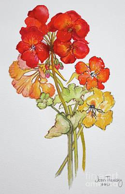 Geranium And Nasturtiums Art Print by Joan Thewsey