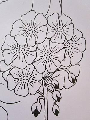 Passionate Drawing - Geranium Drops by Rosita Larsson