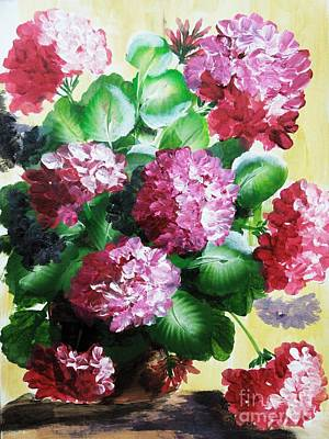 Petals Painting - Geranium In The Pot by Jennilyn Villamer Vibar