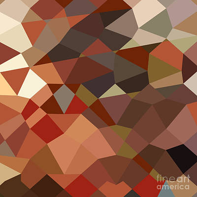 Geranium Red Abstract Low Polygon Background Art Print