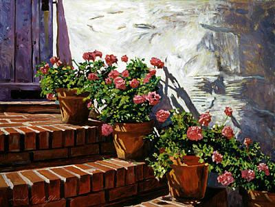 French Impressionism Painting - Geranium Steps by David Lloyd Glover