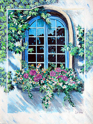 Painting - Geranium Window by Sarah Hornsby