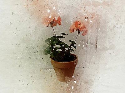 Digital Art - Geraniums 2 by Peggy Cooper