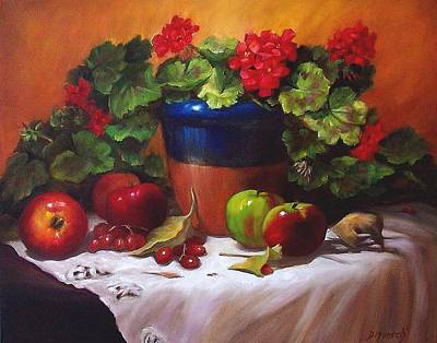Painting - Geraniums And Apples by Donna Munsch