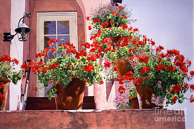 Geraniums At The Top Of Stairs Art Print by David Lloyd Glover