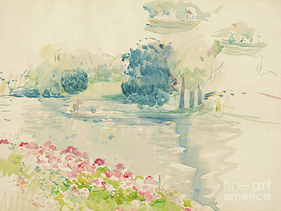 Pink Flower Drawing - Geraniums By The Lake by Berthe Morisot