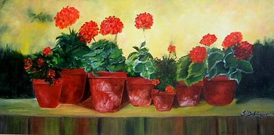 Painting - Geraniums In A Row-- Sold by Susan Dehlinger