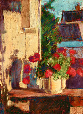 Pastel - Geraniums In Burgundy by Judy Adamson