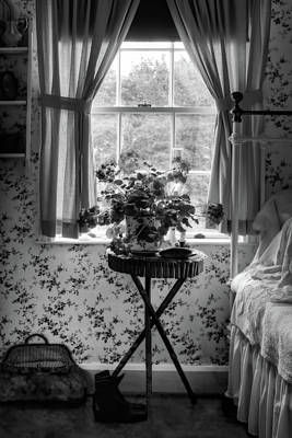 Photograph - Geraniums In The Bedroom - Black And White by Nikolyn McDonald