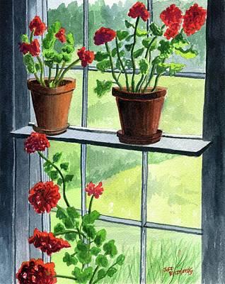 Painting - Geraniums In The Window by Jeff Blazejovsky