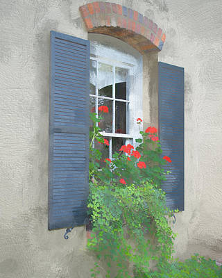 Photograph - Geraniums In The Window by Larry Bishop